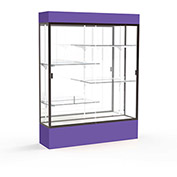 "Spirit Lighted Display Case 60""W x 80""H x 16""D Mirror Back Dark Bronze Purple Base & Top"