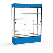 "Spirit Lighted Display Case 60""W x 80""H x 16""D Mirror Back Dark Bronze Royal Blue Base & Top"