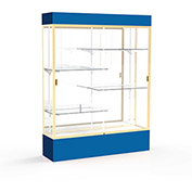 "Spirit Lighted Display Case 60""W x 80""H x 16""D Mirror Back Champagne Royal Blue Base & Top"