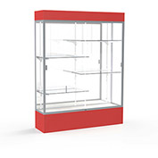 "Spirit Lighted Display Case 60""W x 80""H x 16""D Mirror Back Satin Finish Red Base & Top"