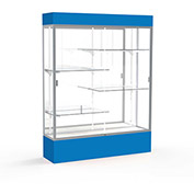"Spirit Lighted Display Case 60""W x 80""H x 16""D Mirror Back Satin Finish Royal Blue Base & Top"