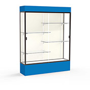 "Spirit Lighted Display Case 60""W x 80""H x 16""D Plaque Back Dark Bronze Royal Blue Base & Top"