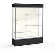 "Spirit Lighted Display Case 60""W x 80""H x 16""D Plaque Back Satin Finish Black Base & Top"