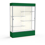 "Spirit Lighted Display Case 60""W x 80""H x 16""D Plaque Back Satin Finish Forest Green Base & Top"