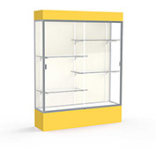 "Spirit Lighted Display Case 60""W x 80""H x 16""D Plaque Back Satin Finish Golden Rod Base & Top"