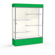 "Spirit Lighted Display Case 60""W x 80""H x 16""D Plaque Back Satin Finish Kelly Green Base & Top"
