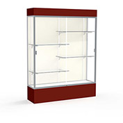 "Spirit Lighted Display Case 60""W x 80""H x 16""D Plaque Back Satin Finish Maroon Base & Top"