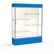 "Spirit Lighted Display Case 60""W x 80""H x 16""D Plaque Back Satin Finish Royal Blue Base & Top"