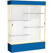 "Spirit Lighted Display Case 60""W x 80""H x 16""D White Back Champagne Royal Blue Base & Top"