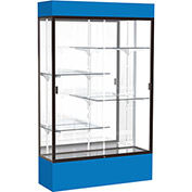 "Spirit Lighted Display Case 72""W x 80""H x 16""D Mirror Back Dark Bronze Royal Blue Base & Top"