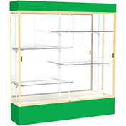 """Spirit Lighted Display Case 72""""W x 80""""H x 16""""D Mirror Back Champagne Kelly Green Base & Top"""