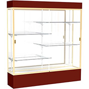 """Spirit Lighted Display Case 72""""W x 80""""H x 16""""D Mirror Back Champagne Maroon Base & Top"""