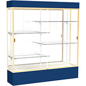 """Spirit Lighted Display Case 72""""W x 80""""H x 16""""D Mirror Back Champagne Navy Base & Top"""
