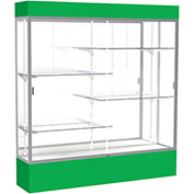 "Spirit Lighted Display Case 72""W x 80""H x 16""D Mirror Back Satin Finish Kelly Green Base & Top"