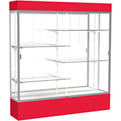"Spirit Lighted Display Case 72""W x 80""H x 16""D Mirror Back Satin Finish Red Base & Top"
