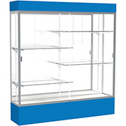 "Spirit Lighted Display Case 72""W x 80""H x 16""D Mirror Back Satin Finish Royal Blue Base & Top"