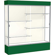 "Spirit Lighted Display Case 72""W x 80""H x 16""D Plaque Back Satin Finish Forest Green Base & Top"