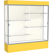 "Spirit Lighted Display Case 72""W x 80""H x 16""D Plaque Back Satin Finish Golden Rod Base & Top"