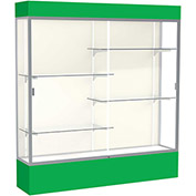 "Spirit Lighted Display Case 72""W x 80""H x 16""D Plaque Back Satin Finish Kelly Green Base & Top"