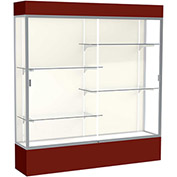 "Spirit Lighted Display Case 72""W x 80""H x 16""D Plaque Back Satin Finish Maroon Base & Top"