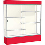 "Spirit Lighted Display Case 72""W x 80""H x 16""D Plaque Back Satin Finish Red Base & Top"