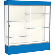 "Spirit Lighted Display Case 72""W x 80""H x 16""D Plaque Back Satin Finish Royal Blue Base & Top"