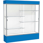 "Spirit Lighted Display Case 72""W x 80""H x 16""D White Back Satin Finish Royal Blue Base & Top"