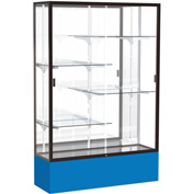 "Spirit Display Case Royal Blue Base, Bronze Frame, Mirror Back 48""W x 16""D x 72""H"