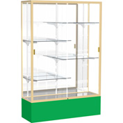 "Spirit Display Case Kelly Green Base, Gold Frame, Mirror Back 48""W x 16""D x 72""H"