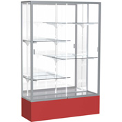 "Spirit Display Case Red Base, Satin Frame, Mirror Back 48""W x 16""D x 72""H"