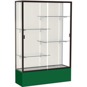 "Spirit Display Case Forest Green Base, Bronze Frame, Fabric Back 48""W x 16""D x 72""H"