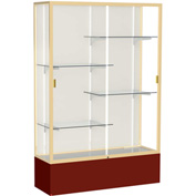 "Spirit Display Case Maroon Base, Gold Frame, Fabric Back 48""W x 16""D x 72""H"