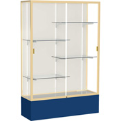 "Spirit Display Case Navy Base, Gold Frame, Fabric Back 48""W x 16""D x 72""H"