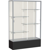 "Spirit Display Case Black Base, Satin Frame, Fabric Back 48""W x 16""D x 72""H"