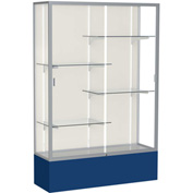 "Spirit Display Case Navy Base, Satin Frame, Fabric Back 48""W x 16""D x 72""H"