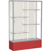 "Spirit Display Case Red Base, Satin Frame, Fabric Back 48""W x 16""D x 72""H"