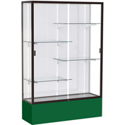 "Spirit Display Case Forest Green Base, Bronze Frame, White Back 48""W x 16""D x 72""H"