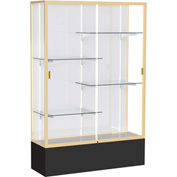"Spirit Display Case Black Base, Gold Frame, White Back 48""W x 16""D x 72""H"