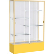 "Spirit Display Case Golden Rod Base, Gold Frame, White Back 48""W x 16""D x 72""H"