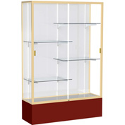 "Spirit Display Case Maroon Base, Gold Frame, White Back 48""W x 16""D x 72""H"