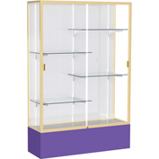 "Spirit Display Case Purple Base, Gold Frame, White Back 48""W x 16""D x 72""H"