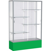 "Spirit Display Case Kelly Green Base, Satin Frame, White Back 48""W x 16""D x 72""H"