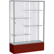 "Spirit Display Case Maroon Base, Satin Frame, White Back 48""W x 16""D x 72""H"