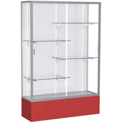 "Spirit Display Case Red Base, Satin Frame, White Back 48""W x 16""D x 72""H"