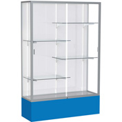 "Spirit Display Case Royal Blue Base, Satin Frame, White Back 48""W x 16""D x 72""H"