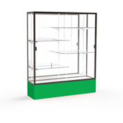 "Spirit Display Case Kelly Green Base, Bronze Frame, Mirror Back 60""W x 16""D x 72""H"