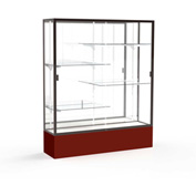 "Spirit Display Case Maroon Base, Bronze Frame, Mirror Back 60""W x 16""D x 72""H"