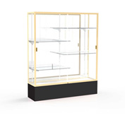 "Spirit Display Case Black Base, Gold Frame, Mirror Back 60""W x 16""D x 72""H"