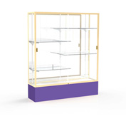 "Spirit Display Case Purple Base, Gold Frame, Mirror Back 60""W x 16""D x 72""H"