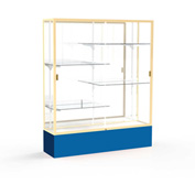 "Spirit Display Case Royal Blue Base, Gold Frame, Mirror Back 60""W x 16""D x 72""H"